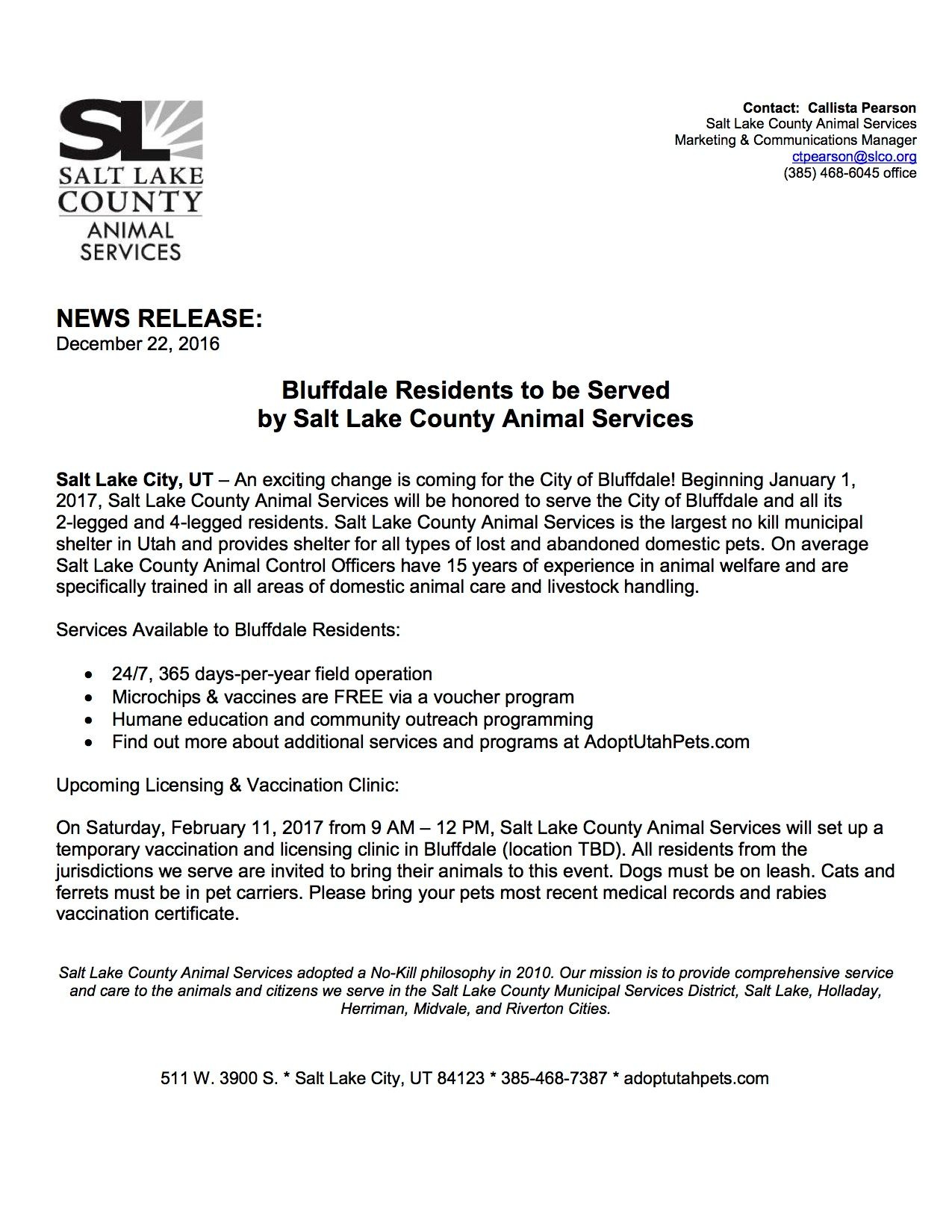 NEWS RELEASE Bluffdale residents served by SLCOAS
